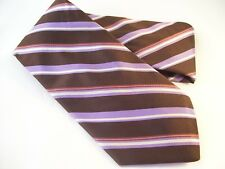 Hart Schaffner Marx Designer Tie Men's Silk Necktie USA NWT Purple Brown Stripes
