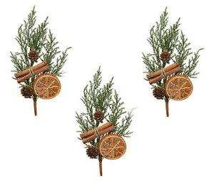 3 x Pine Spray Picks Christmas Tree Florist Decoration with Orange & Cinnamon