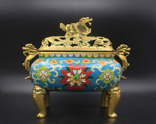 gorgeous Chinese Antiques cloisonne aulic dragon brass CENSER Incense Burner