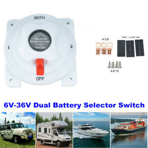 6-36V Dual Battery Selector Switch Kit Disconnect Power Cut Off on for RV Boat