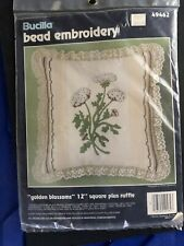 """Bucilla bead embroidery kit golden blossoms 12"""" pillow with ruffle"""