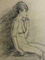 M. KREKELER -Kohle-Zeichnung Erotik /AKT um 1918: NACKTE FRAU SITZEND
