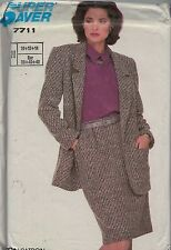 UNCUT vintage pattern Simplicity 7711 Business Jacket Skirt size 10 12 14