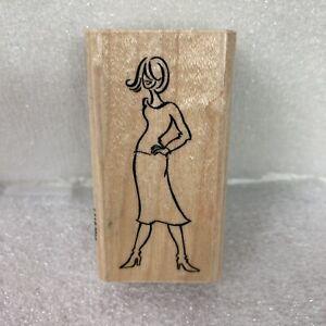 Stampendous Rubber Stamp L119 Meg Fashion Friendzy Woman Standing Boots Skirt WM