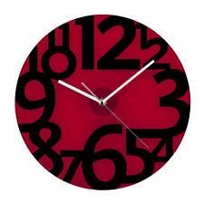Premier Housewares Red Glass Design Wall Clock Black Numbers Modern Decoration