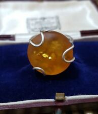 STERLING SILVER RING, GENUINE TESTED AMBER, FULLY HALLMARKED, SIZE P½
