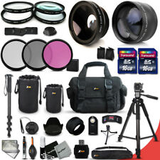 32 Piece Accessory Kit f/ Canon EOS Rebel T3i w/ Wide + 2x Lens +2 Bts+ MORE!