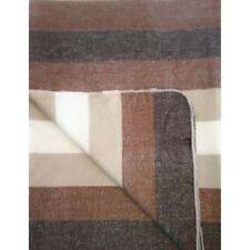SOFT & WARM BROWN STRIPED ALPACA WOOL BLANKET PLAID 230x170 cm HANDMADE ECUADOR