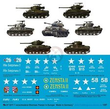 "Peddinghaus 1/87 (HO) Sherman Tank Markings w/""Fury"" Europe WWII (7 tanks) 3211"