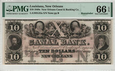 1840 $10 NEW ORLEANS CANAL BANK LOUISIANA OBSOLETE REMAINDER PMG GEM UNC 66 EPQ