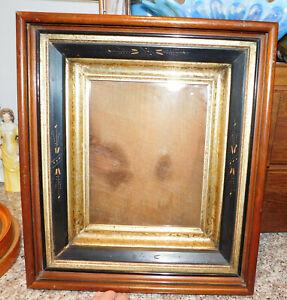"3rd Antique Victorian Eastlake Deep Well Shadowbox Walnut Frame Fit  7.5 x 9.5 """