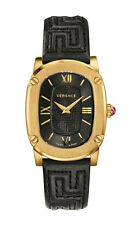 Versace Women's VNB030014 COUTURE Oval Gold IP Steel Black Leather Watch