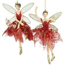 Gisela Graham Set of 2 Christmas Fairy Ballerina Resin Tree Red Decorations