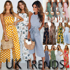 UK Womens Summer Striped Print Wide Leg Holiday Jumpsuits Playsuits Culotte 6-16