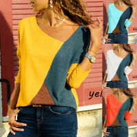 Fashion Women Splicing Color Collision Long Sleeves Plus Size Easy Tops Blouse
