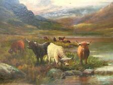 Douglas Cameron-par de aceites Paisaje Escocés-worth £ 10K-Highland ganado