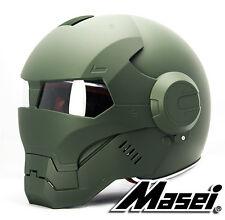 Masei 610 Atomic Man Iron Matt Green Flip-Up Motorcycles Helmet Chopper