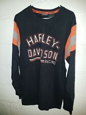 Harley-Davidson Mens Shoulder Stripe Knit Long Sleeve Black Shirt LARGE Racing