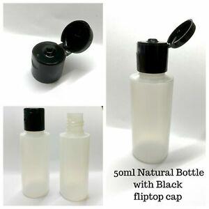 50ml Plastic Bottles Flip Top Cap Lid  Empty 5 10 20 50 100