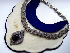 "GORGEOUS VINTAGE SOLID STERLING SILVER ONYX MARCASITE COLLAR NECKLACE 18"" 73.8G"