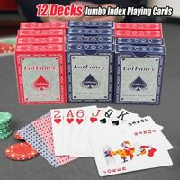 Jumbo Index Playing Cards 12 Decks Cards (6 Blue 6 Red) Large Print Poker Size