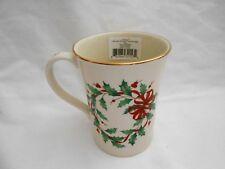 Nib Lenox Deck The Halls Holly Berry 12 Oz. Porcelain Taza Mug Christmas w1s1