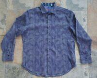 Robert Graham Flip Cuff Long Sleeve Button-Up Shirt Men's Size L Floral Stripes