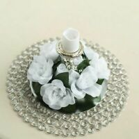 8 White CANDLE RINGS with SILK ROSES Wedding Flowers for Centerpieces
