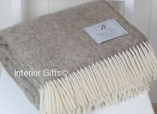 Bronte By Moon BEIGE THROW Natural Collection HERRINGBONE Pure New Wool Brown