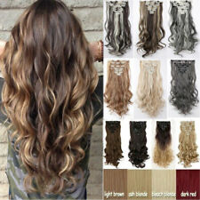US 8 Pieces Clip In Hair Extensions Full Head Ombre Real Natural as human Hair D