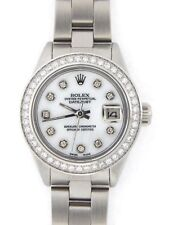 Rolex Datejust Ladies Stainless Steel Watch White MOP Diamond Dial Diamond Bezel