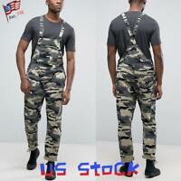 Men's Camo Bib Pants Suspenders Denim Jumpsuits Casual Work Overalls Jeans US