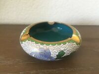 Vintage Chinese Cloisonne Chrysanthemums Flowers Ashtray Enameled Copper