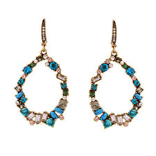 N512 Colorful Crystal Sapphire Stone Pave Statement Drop Earrings Hoop Dangle