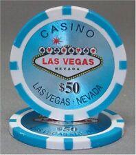 100 Light Blue $50 Las Vegas 14g Clay Poker Chips New - Buy 3, Get 1 Free