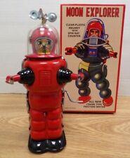"RED Retro Moon Explorer 7"" Tin Robot Figure w Box TR2019/2020 122920DBT"