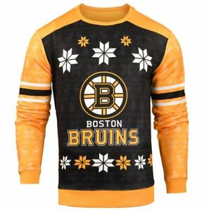 Forever Collectibles NHL Men's Boston Bruins Printed Ugly Sweater, Yellow/Black