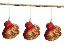 Glass Autumn Squirrel with Acorn Christmas Tree Ornament, Set of 3