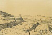 H.WINGLER (*1896), Malerische Weinterrassen, 1949, Bleistift