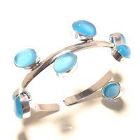 Chalcedony Bracelet cuff Gemstone Handmade Silver Overlay Jewellery