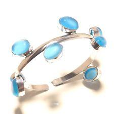 Chalcedony Bracelet cuff Gemstone Handmade Silver Plated Jewellery