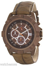 Croton Chronomaster Mens Brown Dial Brown Leather Strap Watch CC311294