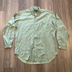 Ralph Lauren Mens Large Blake Silk Cotton Blend Button Shirt Pastel Green