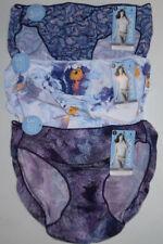 3 Jockey Womens Nylon Bikini 1370 Panty Set Purple Flower Fan Prints 6 M NWT