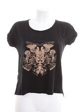 COMPTOIR DES COTONNIERS T-Shirt Gr. 1 DE 36 Damen Shirt Schwarz Leinen Seide