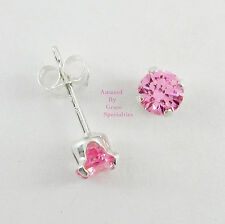 4mm Round PINK Gemstone Post Stud Earrings in SOLID 925 STERLING SILVER - NEW!