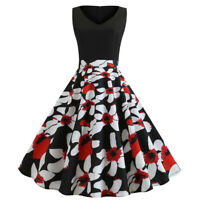 Women's Retro 50s 60s Vintage V-Neck Floral Rockabilly Evening Party Swing Dress