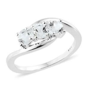 0.75ct Petalite Trilogy Ring in 925 Sterling Silver - UK Sizes M N P & R