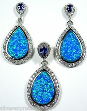 Tanzanite and Blue Fire Opal Inlay 925 Sterling Silver Pendant and Earrings Set