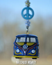 Blue Volkswagen Samba Bus Camper Kombi VW T1 T2 Mirror Hanger Ornament Splitty